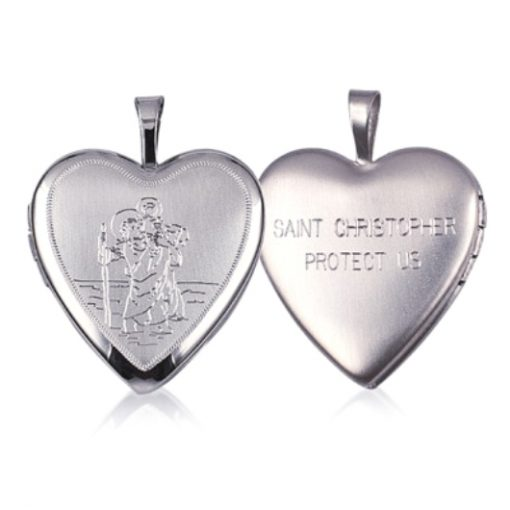 Sterling Silver heart locket St Christopher