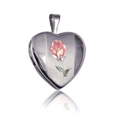 Sterling Silver heart locket Rose