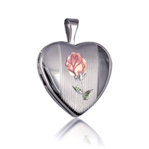 Sterling Silver heart locket Rose