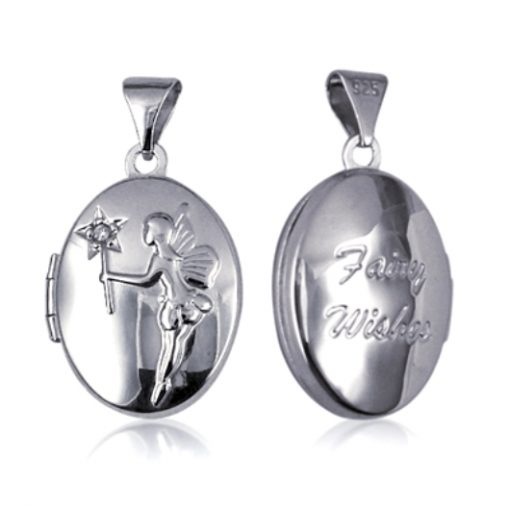 Sterling Silver oval locket Fairy wishes