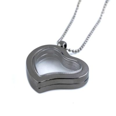 Love memory Locket heart gunmetal tone 30mm