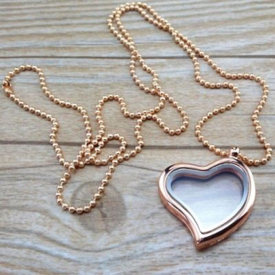 Love memory Locket heart rose tone 30mm