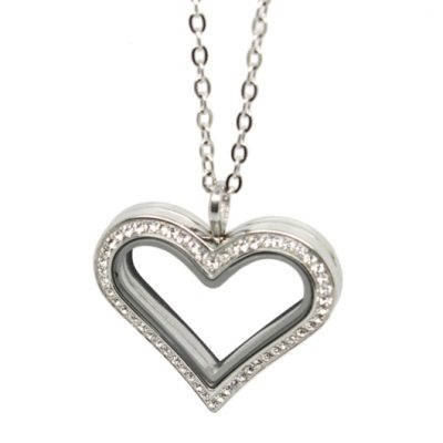 Love memory Locket heart zirconia silver tone 35mm