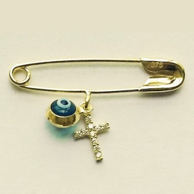 9ct Gold baby pin brooch Lucky evil eye Cross zirconia