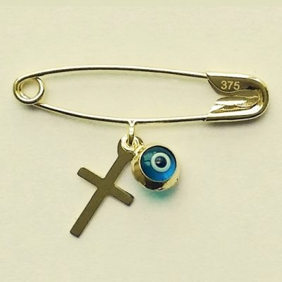 9ct Gold baby pin brooch Lucky evil eye Cross