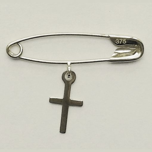 9ct white Gold baby pin brooch Cross Christening
