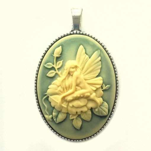 Cameo necklace Garden Fairy ivory green