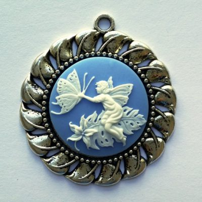 Cameo necklace Woodland Sprite Butterfly white blue 30mm