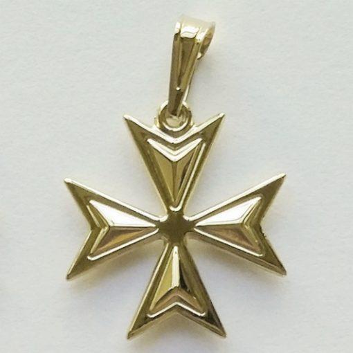 9ct Gold Maltese Cross Amalfi pendant 1.8cm