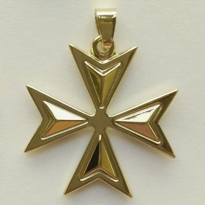 9ct Gold Maltese Cross Amalfi pendant 2.6cm