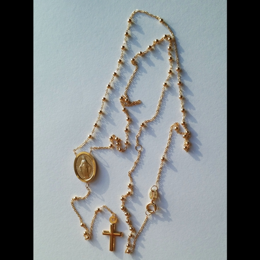 9ct Gold Rosary Beads Necklace Italy Large Medallion