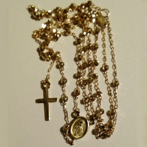 9ct Gold rosary beads necklace diamond cut Italy