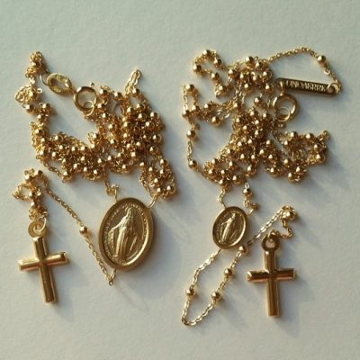 9ct Gold rosary beads necklaces large and small medallion