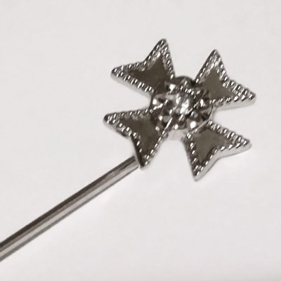 Maltese Cross lapel brooch pin Rhodium plated