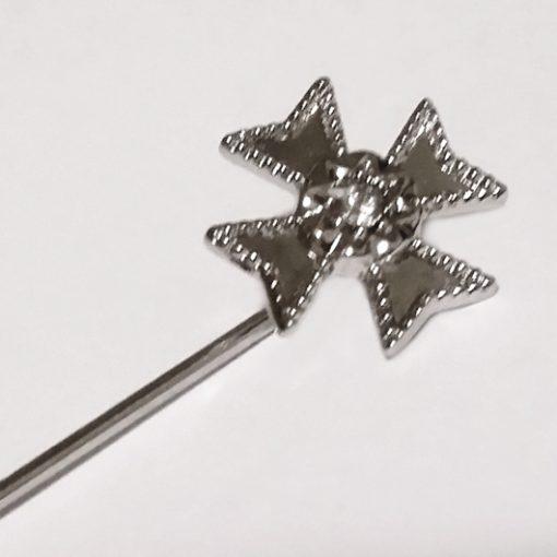 Maltese Cross lapel brooch pin Rhodium plated