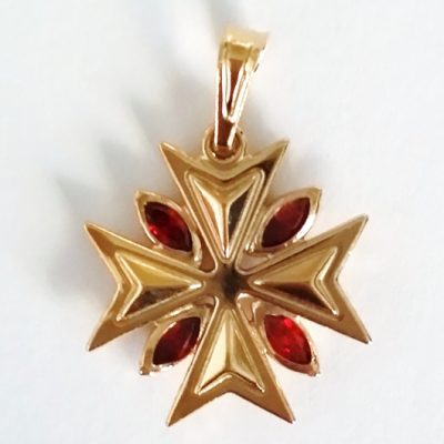9ct Gold Maltese Cross pendant 1.8cm marquis stones Red