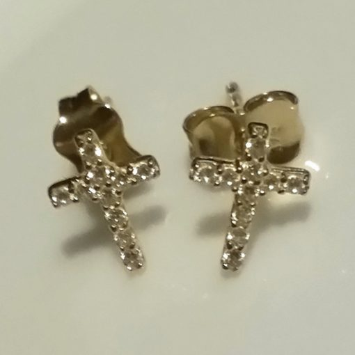9ct Gold earrings Cross zirconia