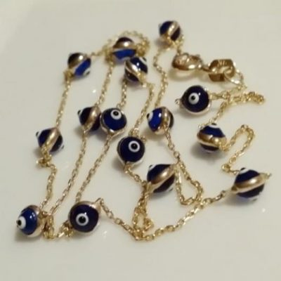 9ct gold evil eye lucky chain necklace