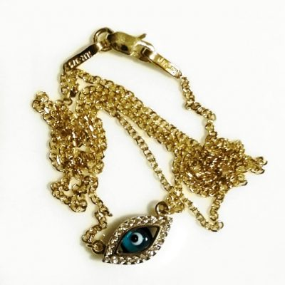 9ct Gold evil eye double sided necklace Marquise