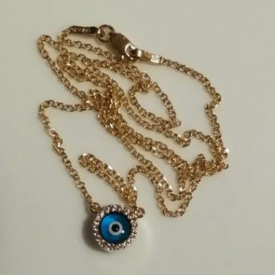 9ct Gold evil eye double sided necklace Round