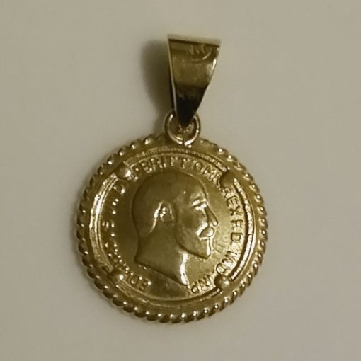 9ct Gold pendant 1906 St George Sovereign coin image