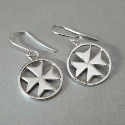 Maltese Cross earrings Sterling Silver handmade