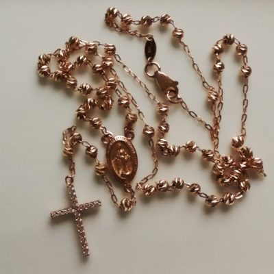 9ct rose Gold rosary diamond cut moon beads necklace