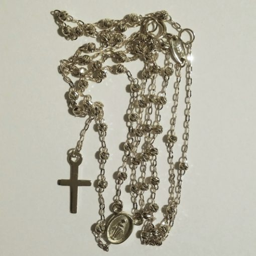 9ct white Gold rosary beads necklace diamond cut Italy