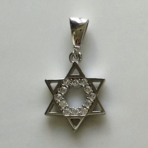 9ct white Gold Star of David pendant charm