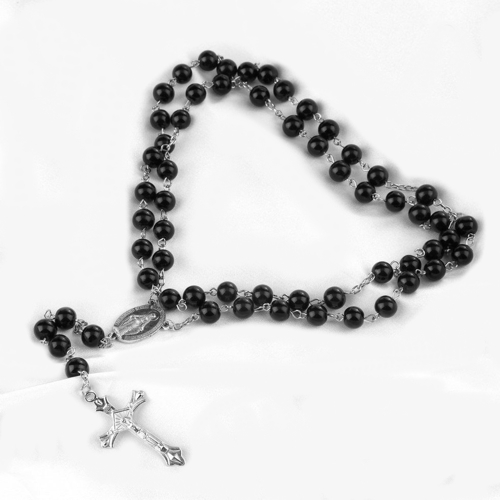 Rosary beads black unisex men women