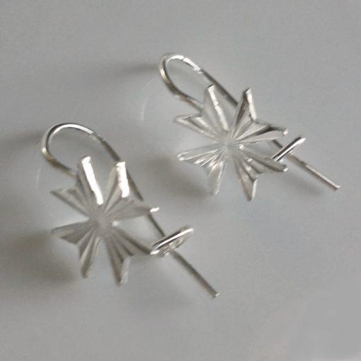 Maltese Cross earrings Sterling Silver hook diamond cut 10mm