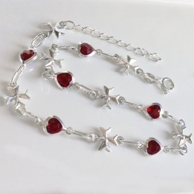 Sterling Silver Anklet 3D Maltese Cross red crystal