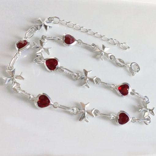Sterling Silver Anklet 3D Maltese Cross red crystal