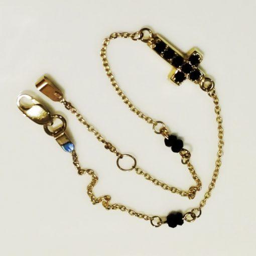 9ct 9kt Gold bracelet Cross black beads