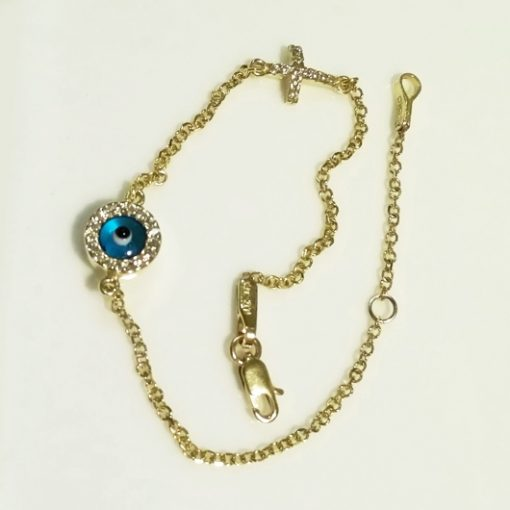 9ct Gold evil eye Cross bracelet AL'ORO round