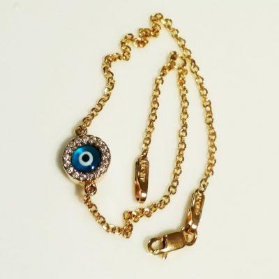 9ct Gold evil eye bracelet AL'ORO round