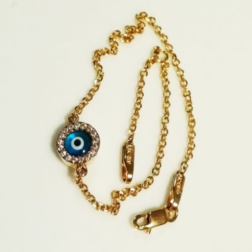 9ct Gold evil eye bracelet AL'ORO round