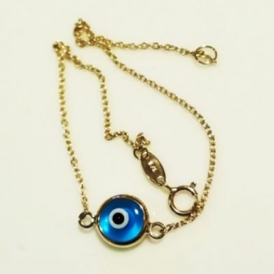 9ct Gold bracelet evil eye lucky