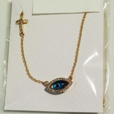 9ct Gold evil eye double sided necklace Marquise cross