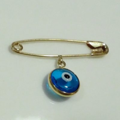 9ct Gold baby pin brooch Lucky evil Eye 10mm
