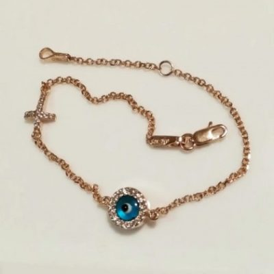 9ct rose Gold evil eye Cross bracelet AL'ORO round