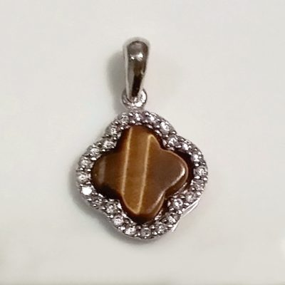 9ct white Gold pendant Greek Cross Tigers eye