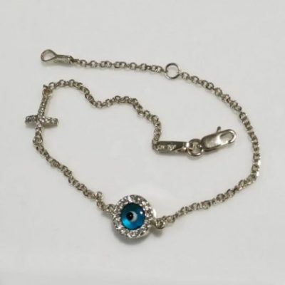 9ct white Gold evil eye Cross bracelet AL'ORO round