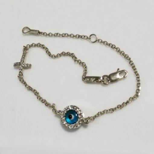 9ct white Gold evil eye Cross bracelet AL'ORO round