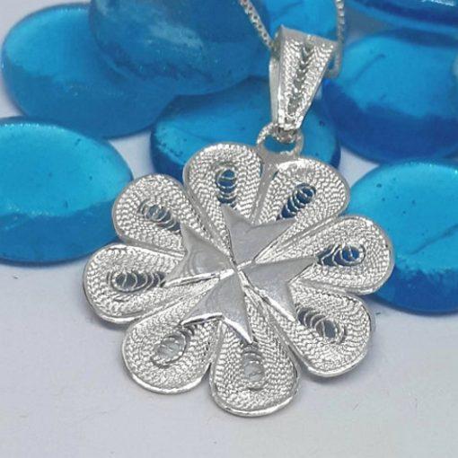 Maltese Cross filigree pendant Sterling Silver 2.7cm flower