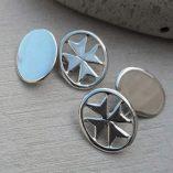 sterling-silver-maltese-cross-cuff-links-handmade