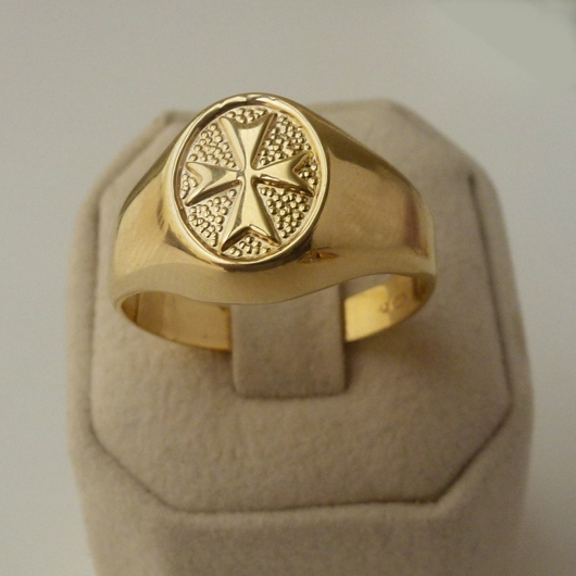Mens Rings 9ct Gold Maltese Cross Sterling Silver