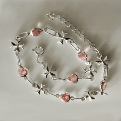 Sterling Silver Anklet Maltese Cross pink hearts