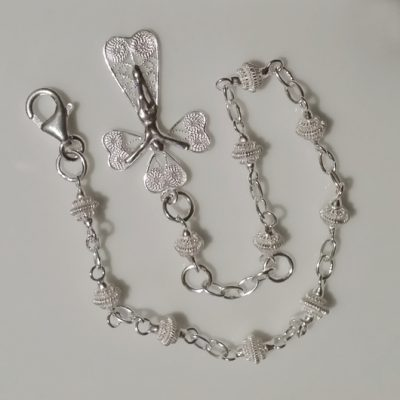 Sterling Silver filigree rosary beads bracelet