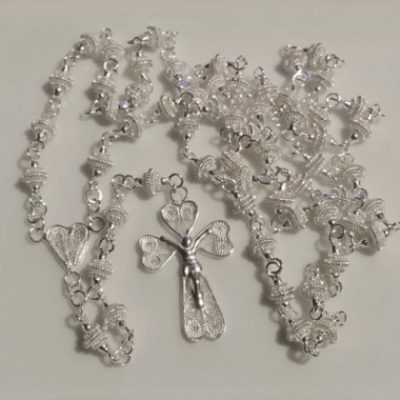Sterling Silver filigree rosary beads necklace